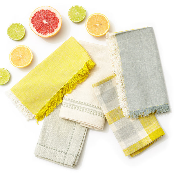 Fringe Colourblock Napkin, Citron/Cream