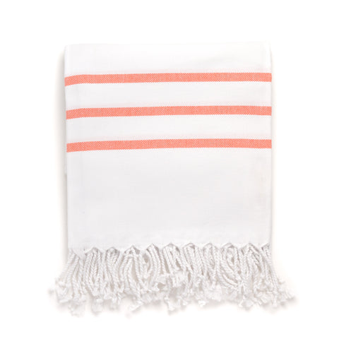 Turkish Bath Towel, White with Coral