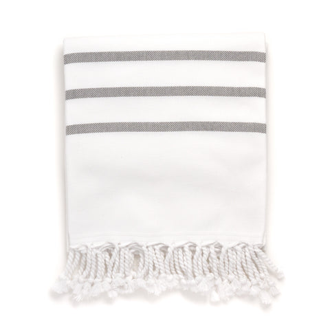 Turkish Bath Towel, White with Gray