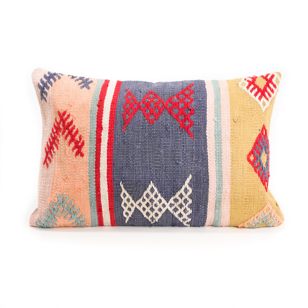 Blue Bow Kilim Lumbar Pillow
