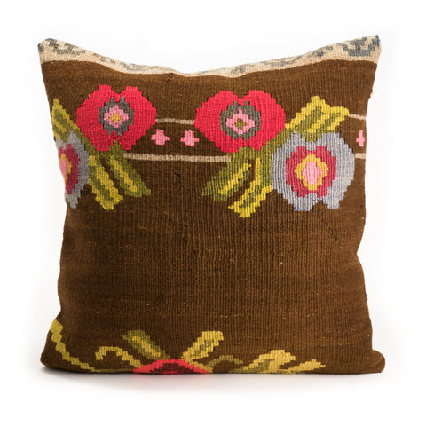 Brown Floral Kilim Pillow