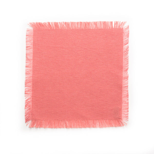 Solid Fringe Cocktail Napkin, Pink