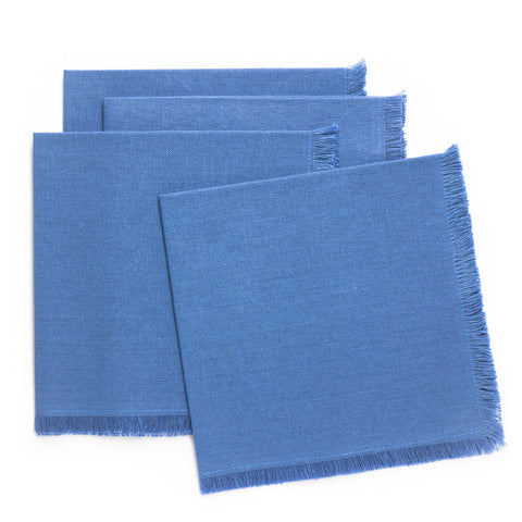 Solid Fringe Luncheon Napkin, Blue