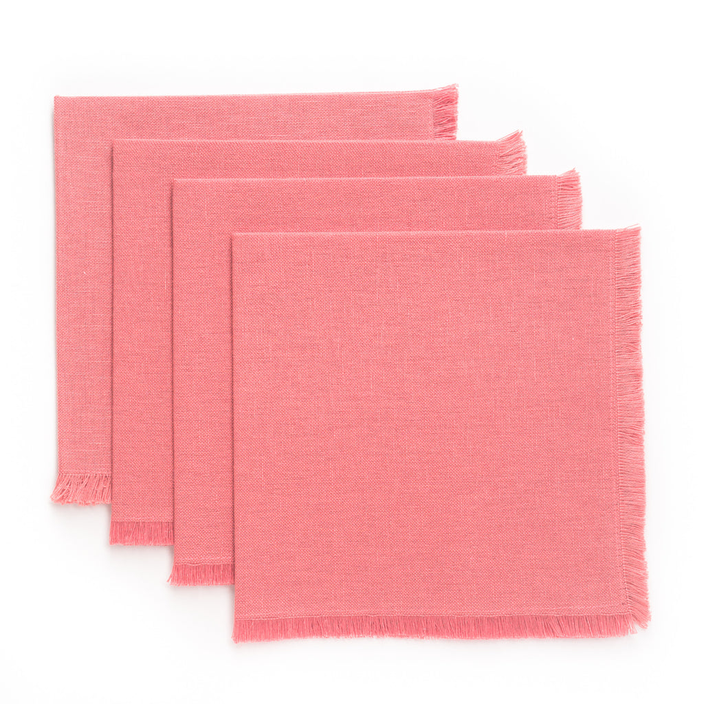 Solid Fringe Luncheon Napkin, Pink