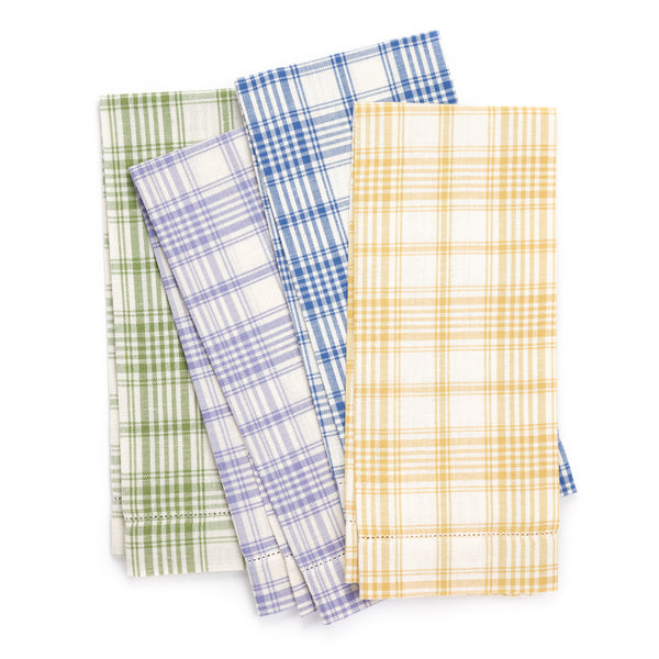 Plaid Hemstitch Guest Towel, Mustard