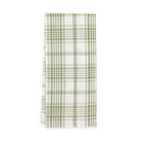 Plaid Hemstitch Guest Towel, Green