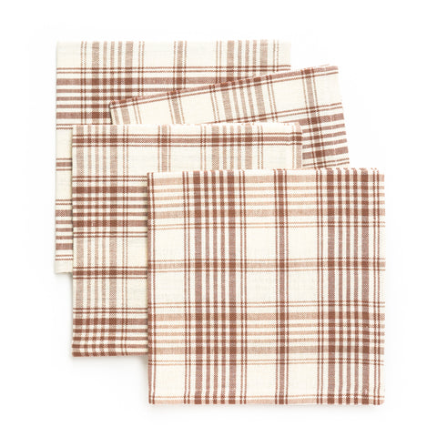 Plaid Luncheon Napkin, Brown