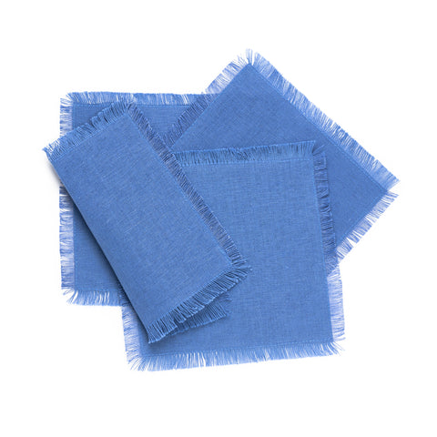 Solid Fringe Cocktail Napkin, Blue