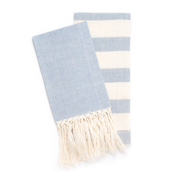 Chambray Stripe Hemstitch Guest Towel, Blue