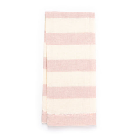 Chambray Stripe Hemstitch Guest Towel, Light Pink