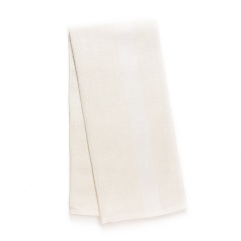 Wide Stripe Kitchen Towel, Ivory