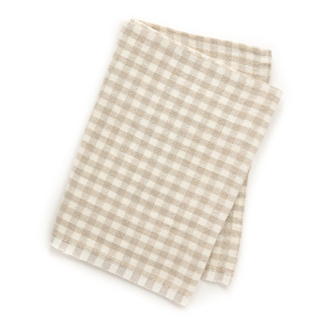 Gingham Tea Towel, Natural/Ivory