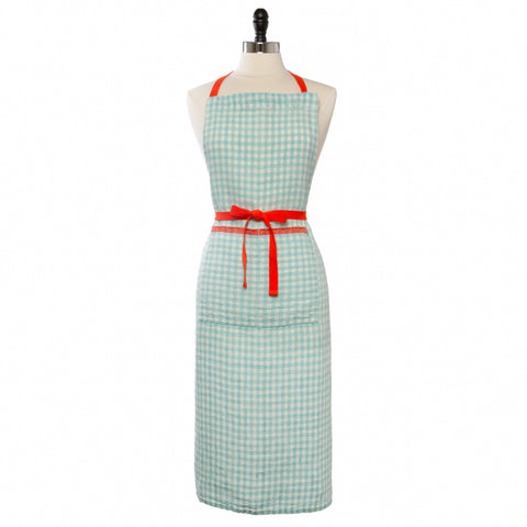 Two-Tone Gingham Apron, Aqua/Orange