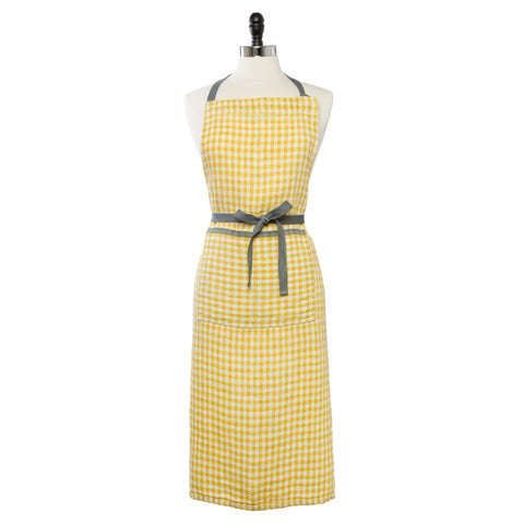 Two-Tone Gingham Apron, Dijon/Grey