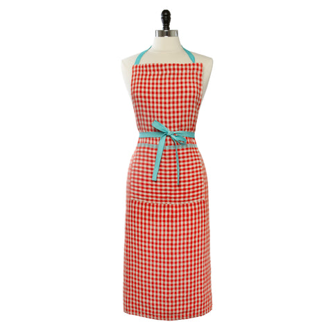 Two-Tone Gingham Apron, Orange/Aqua