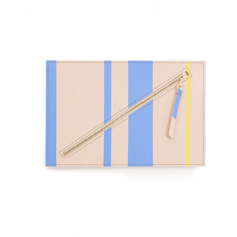 Hand-Painted Leather Flat Clutch, Blueberry Maize Stripe