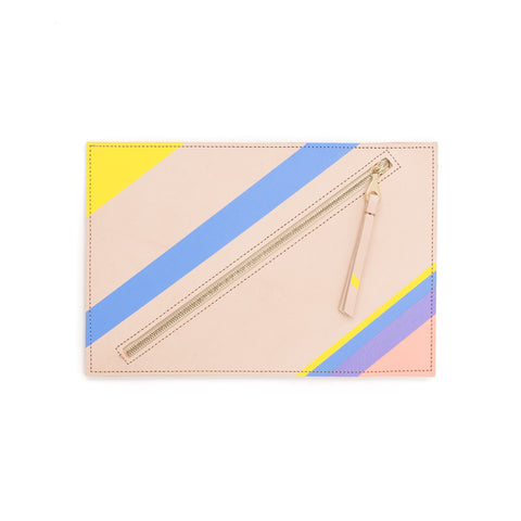 Hand-Painted Leather Flat Clutch, Maize Blueberry Thistle Peach Stripe