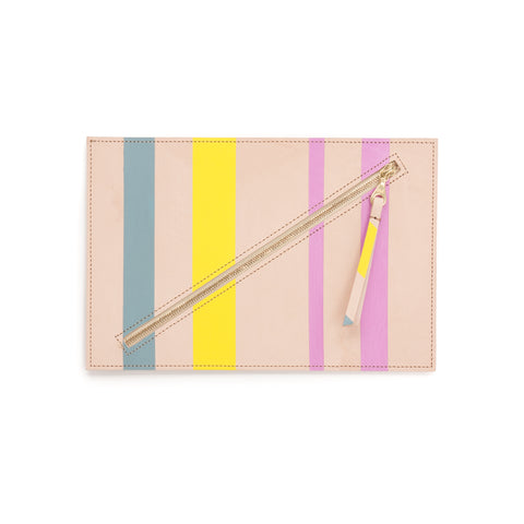 Hand-Painted Leather Flat Clutch, Loden Maize Mulberry Stripe