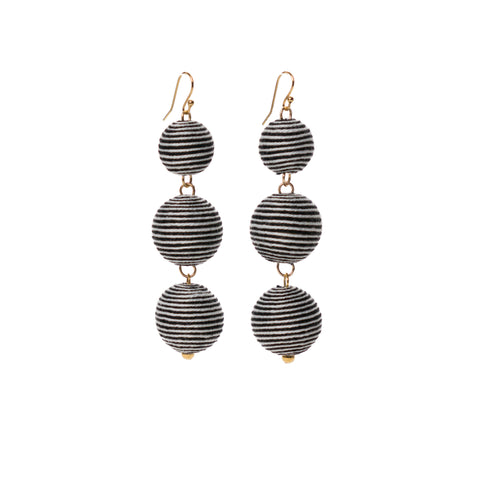 Three Tier Pom Bon Earrings, Black/White