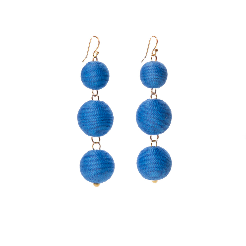 Three Tier Pom Bon Earrings, Light Blue