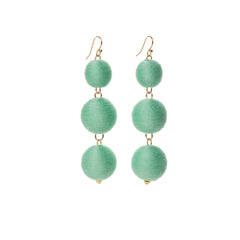 Three Tier Pom Bon Earrings, Mint