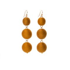 Three Tier Pom Bon Earrings, Ochre