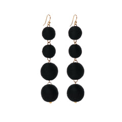 Four Tier Pom Bon Earrings, Black