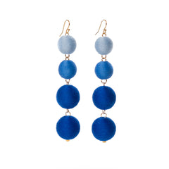 Four Tier Pom Bon Earrings, Blue Ombre
