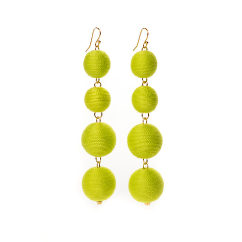 Four Tier Pom Bon Earrings, Chartreuse