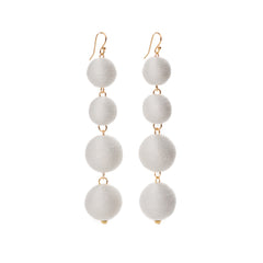 Four Tier Pom Bon Earrings, White