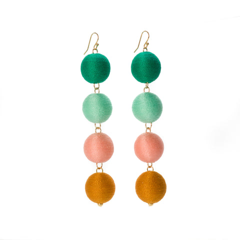 Four Tier Pom Bon Earrings, The Britni