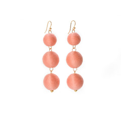 Three Tier Pom Bon Earrings, Salmon