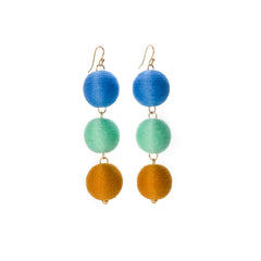 Three Tier Pom Bon Earrings, The Shelby