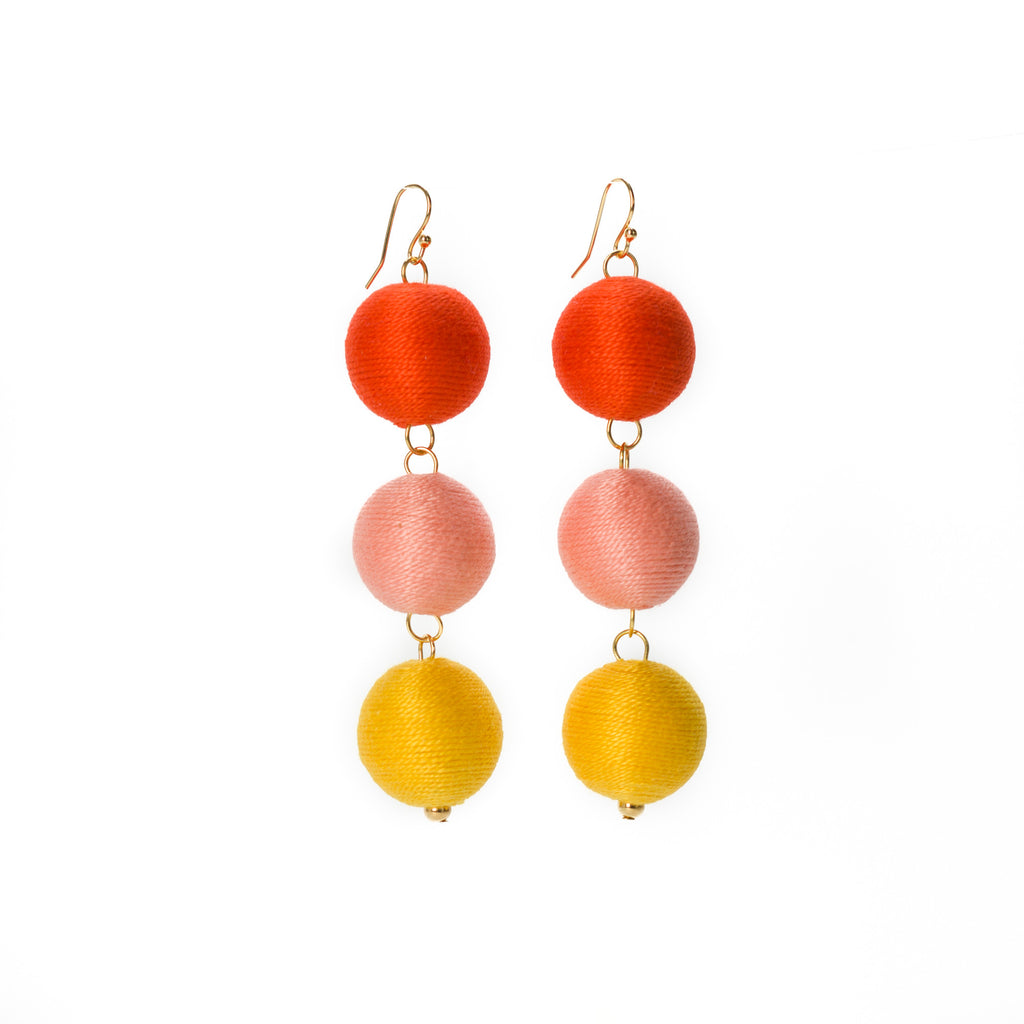 Three Tier Pom Bon Earrings, The Tyler