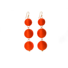 Three Tier Pom Bon Earrings, Tomato