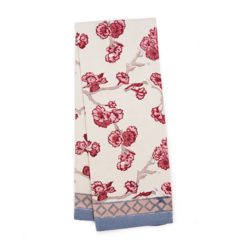 Cherry Blossom Tea Towel, Cream/Blush
