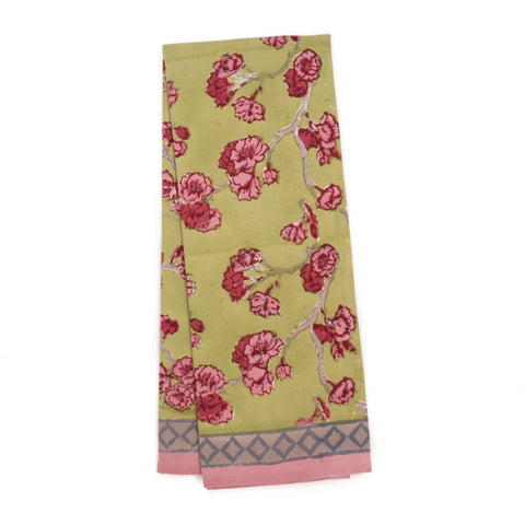 Cherry Blossom Tea Towel, Green/Blush