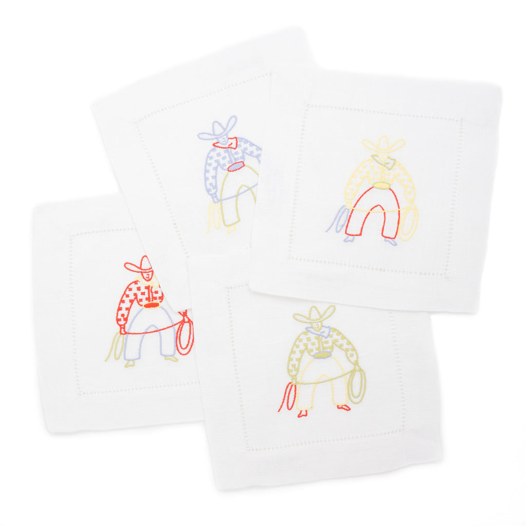 Cowboy Cocktail Napkin Set, White