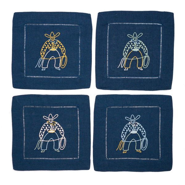 Cowboy Cocktail Napkin Set, Navy