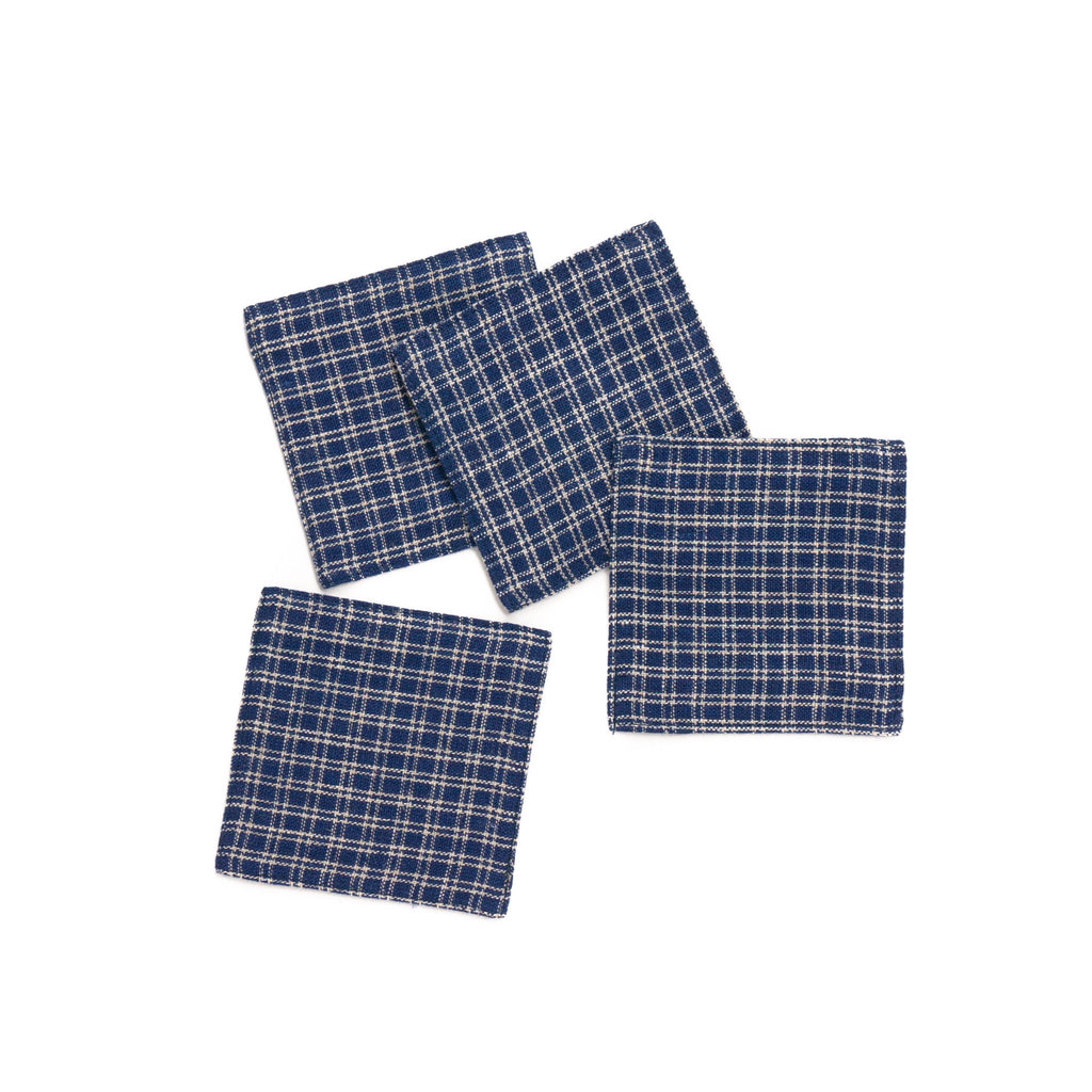 Linen Coaster, Navy Plaid