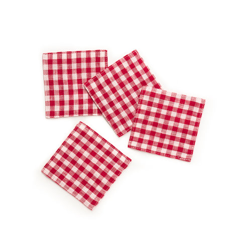 Linen Coaster, Red Gingham