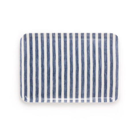 Medium Linen Coating Tray, Navy Stripe