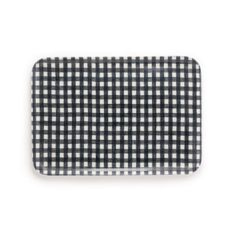Medium Linen Coating Tray, Navy Gingham