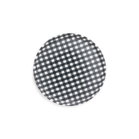 Round Linen Coating Tray, Navy Gingham
