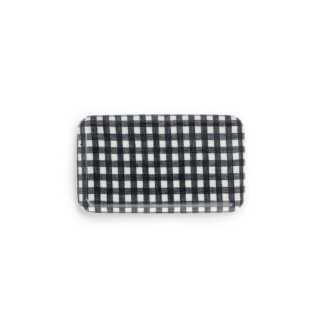 Small Linen Coating Tray, Navy Gingham