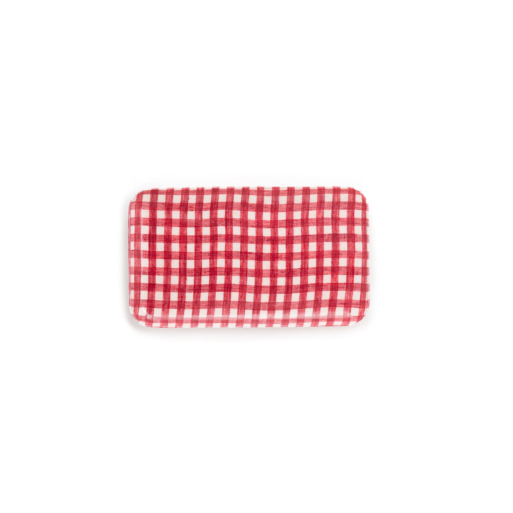 Small Linen Coating Tray, Red Gingham