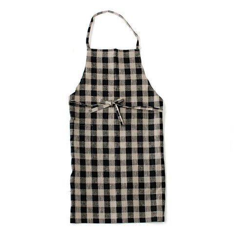 Linen Daily Apron, Black/Natural Check