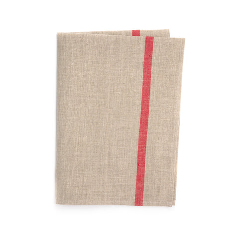 Linen Kitchen Cloth, Natural/Double Red Stripe
