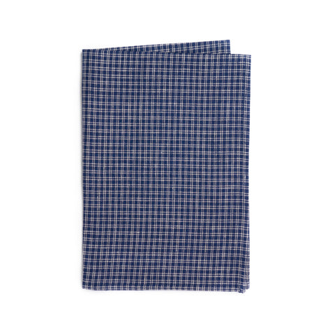 Linen Kitchen Cloth, Navy/White Plaid