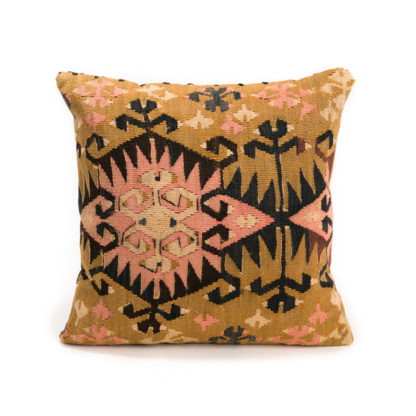 Gold Pink Kilim Pillow